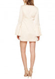 Nude Chandelier Ruched Bell Sleeves Satin Mini Dress