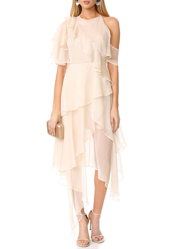 Nude Say You Will Cascading Chiffon Ruffle Dress
