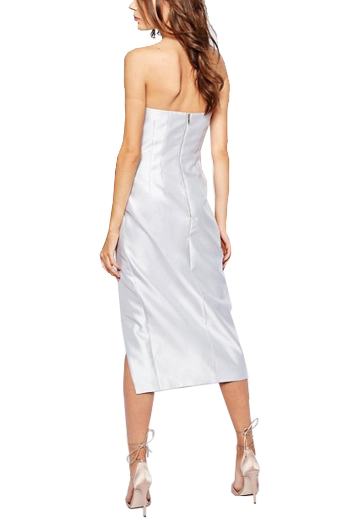 Silver High Rise Strapless High Low Midi Dress