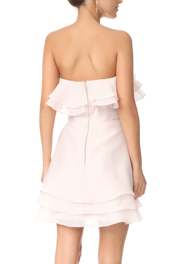 Nude Float Strapless Organza Mini Dress