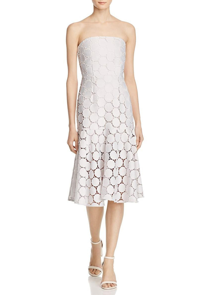 White Strapless Spectrum Circle Lace Midi Dress