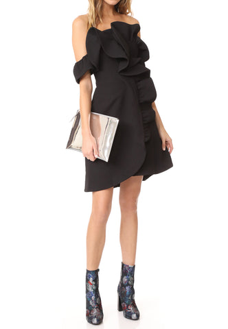 Black Draped Ruffle Overlay Lace Cold Shoulder Dress