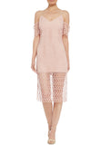 Blush Countdown Lace Off Shoulder Midi Dress