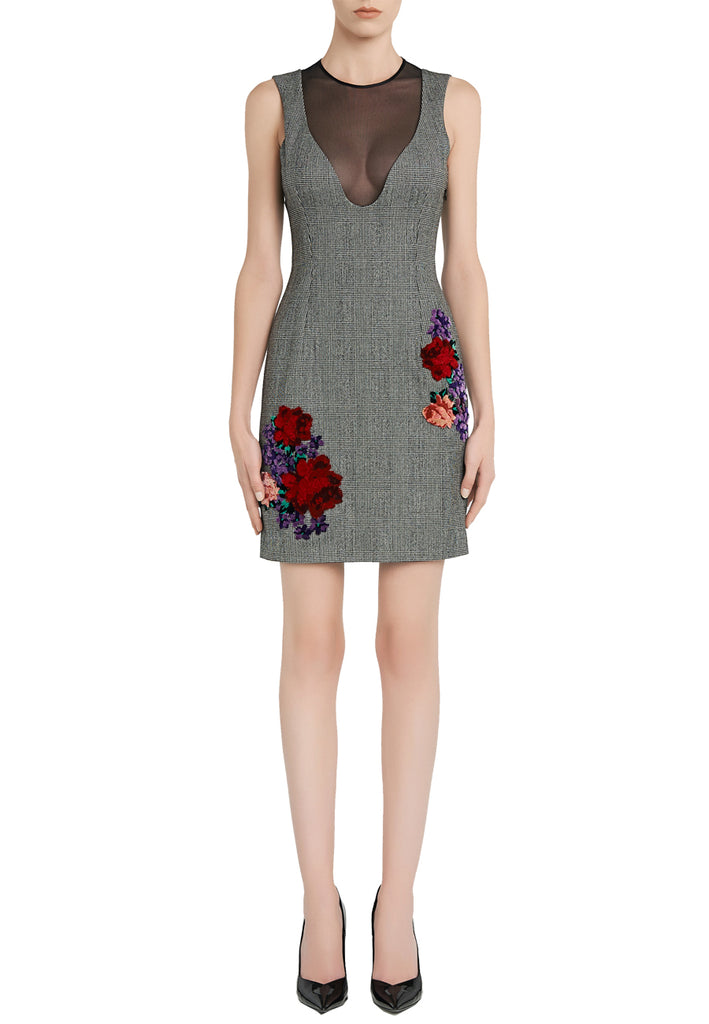 Grey Prince of Wales Check Floral Embroidered Mini Dress