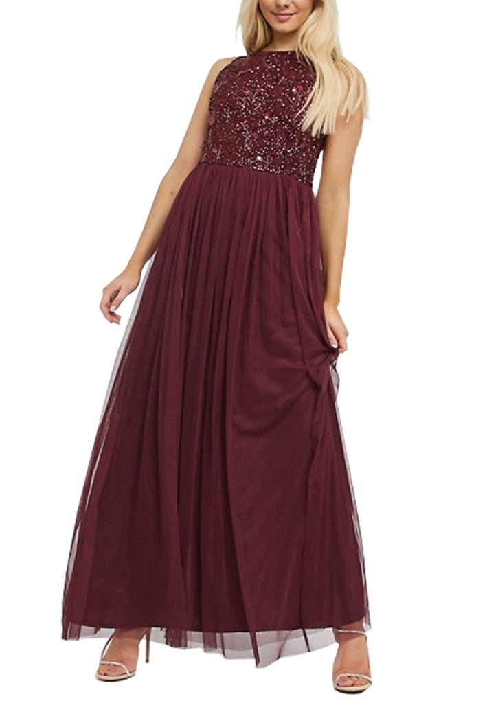Burgundy Shiny Sequins Gown