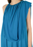 Blue Draped Silk Asymmetric Maxi Dress