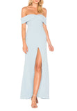 Light Blue Danica Off Shoulder High Split Maxi Dress