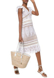 White Medallion Crochet Lace Midi Dress