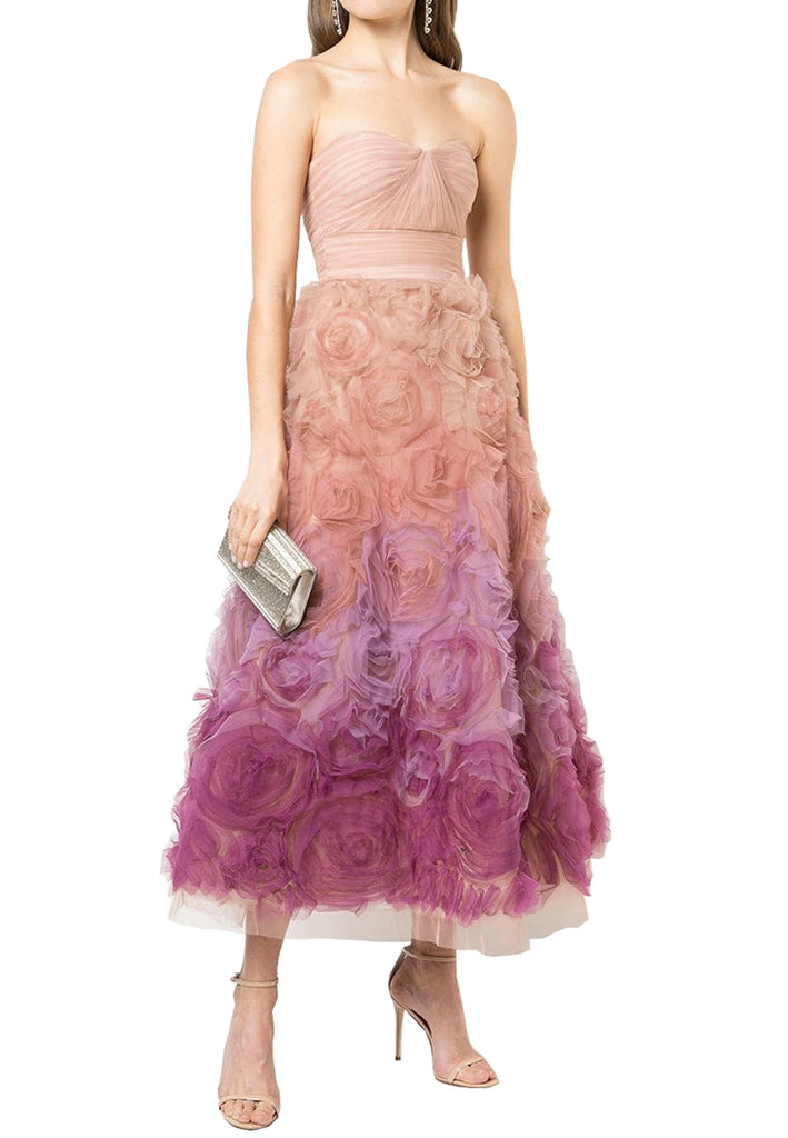 Pink Ombré Tulle Ombré Gown Strapless Strapless Tulle Pink DH2W9IE