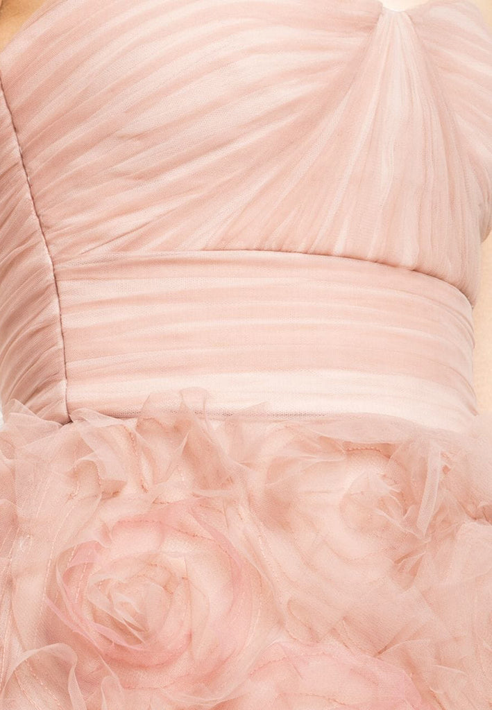 Pink Strapless Ombré Tulle Gown