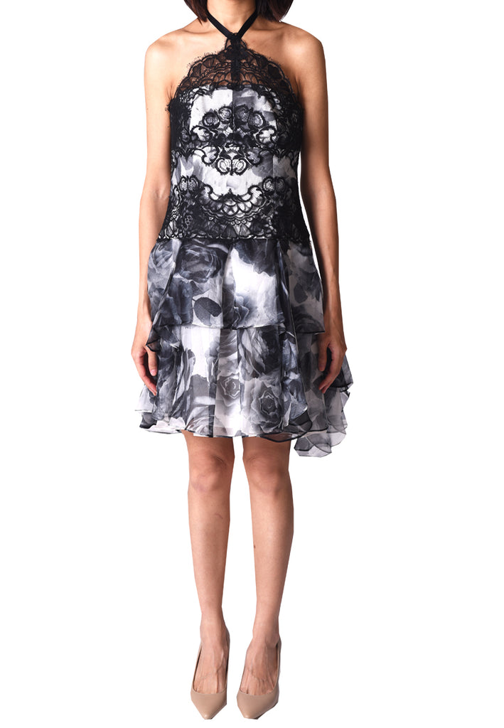 White and Black Halter Neck Printed Rose Tulle Dress