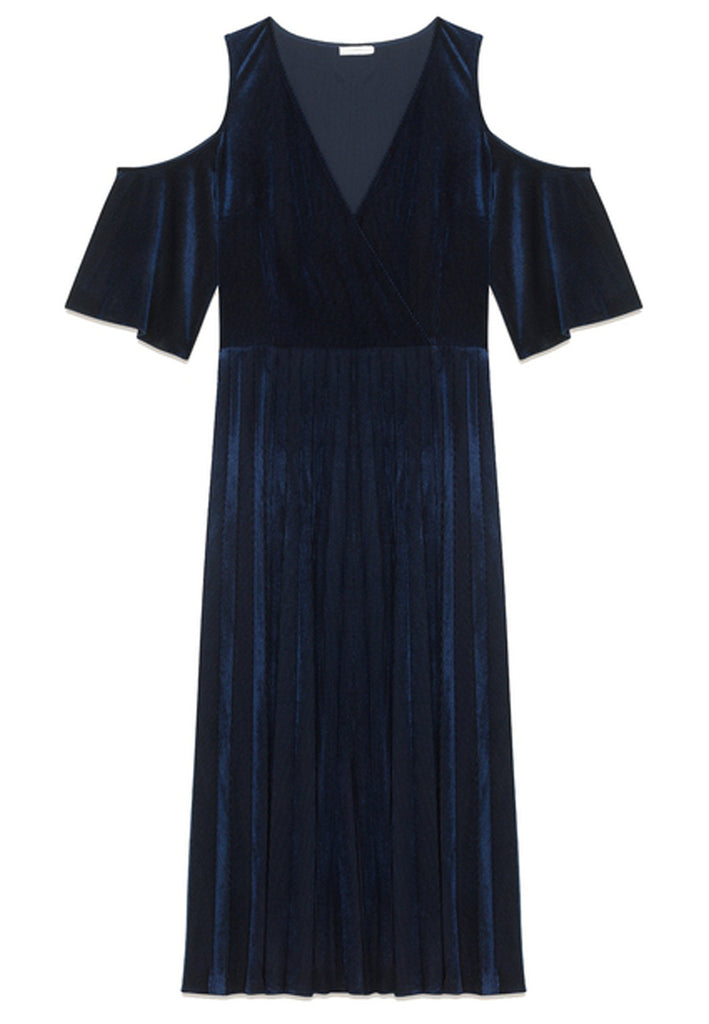 Dark Navy Ragui Pleated Velvet Midi Dress