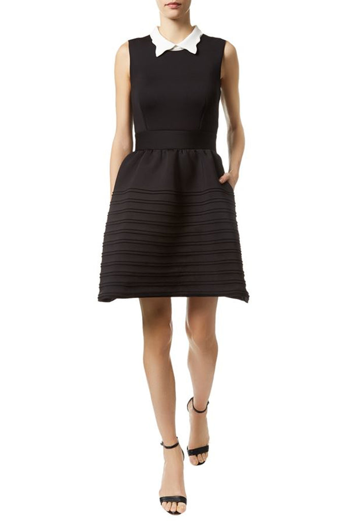 Black Rafela White Collar Neoprene Mini Dress