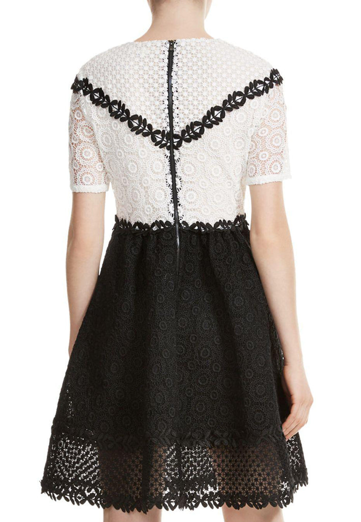 White and Black Renald Floral Lace Skater Mini Dress