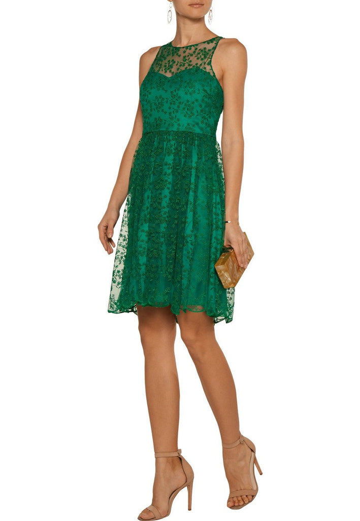 Emerald Green Embroidered Mini Dress ­(Pre-loved)