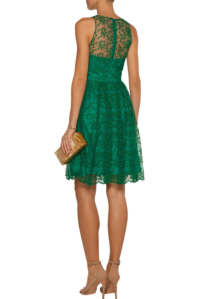 Emerald Green Embroidered Mini Dress ­