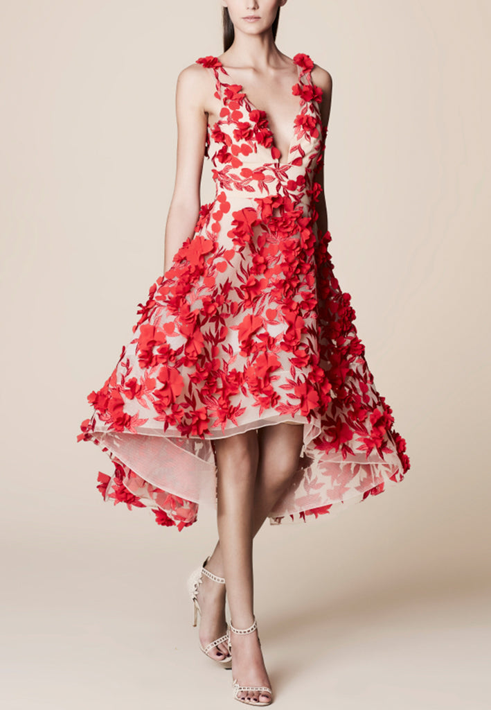 Red Appliqué Flowers Structured Tulle Midi Dress