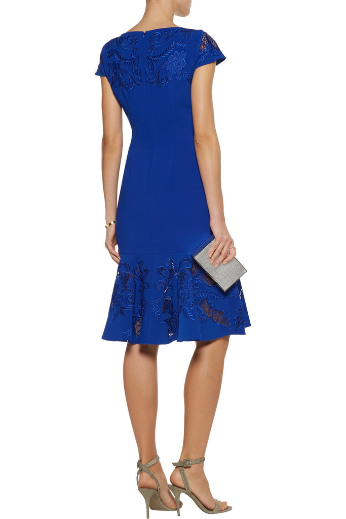 Royal Blue Laser Cut Lace Panel Midi Dress