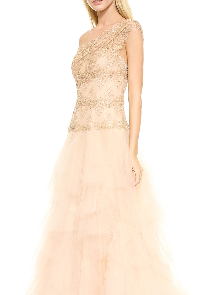 Blush One Shoulder Embellished Ball Gown