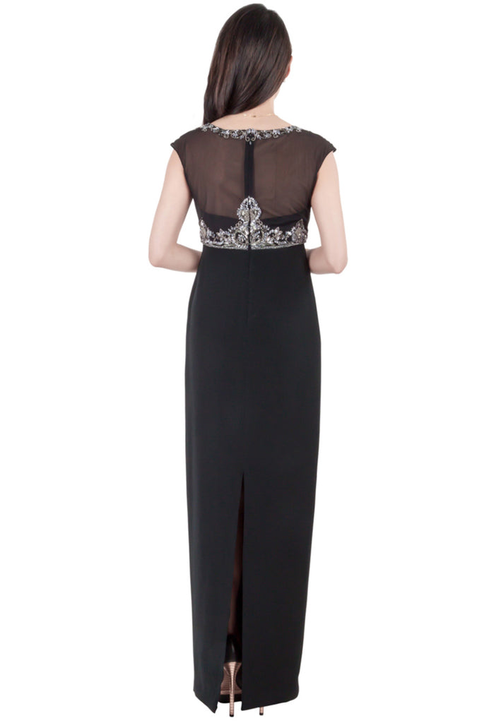 Black Embellished Illusion Neckline Maxi Dress
