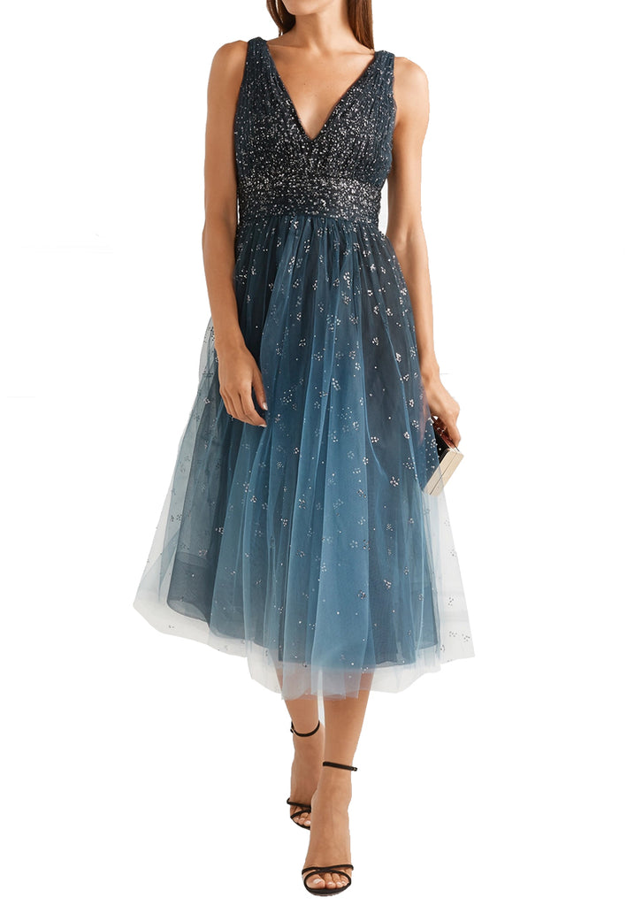 e4d75798c2dfd Marchesa Notte Blue Embellished Ombré Tulle Midi Dress