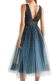 Blue Embellished Ombré Tulle Midi Dress