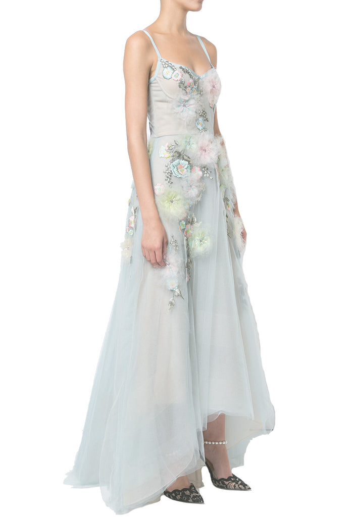 Blue Floral Embroidered With Feather Dress