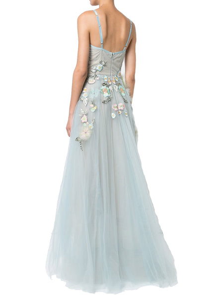 b9b9bc5b5c Marchesa Notte Blue Floral Embroidered With Feather Dress | Wardrobista.com