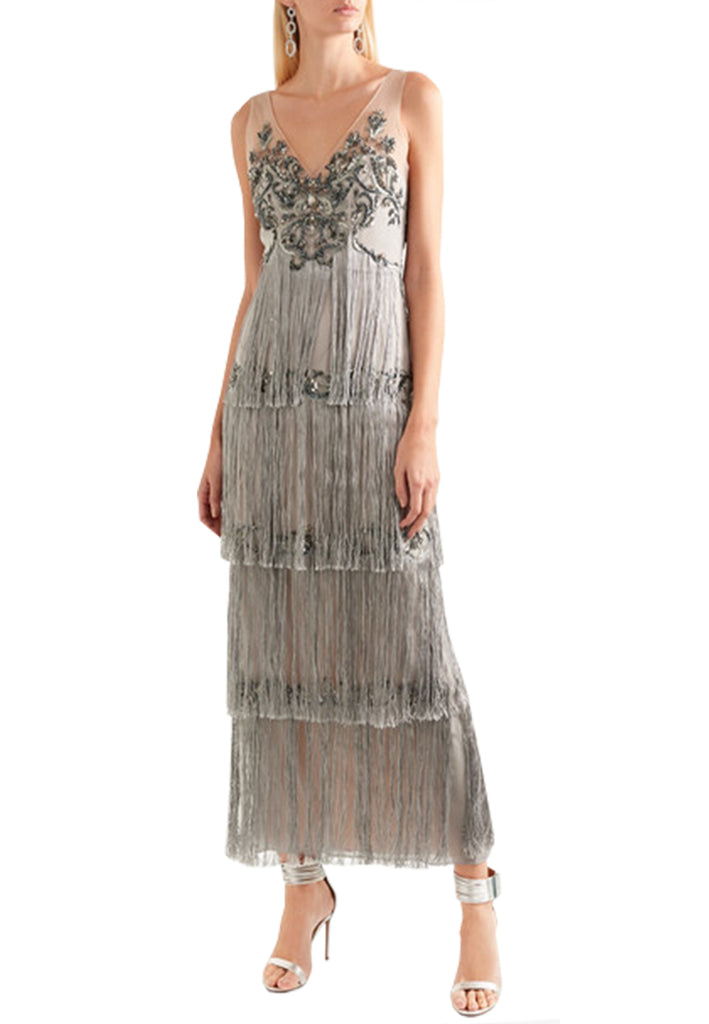 8d7b642e63 Silver Embellished Fringe Gown; Silver Embellished Fringe Gown ...