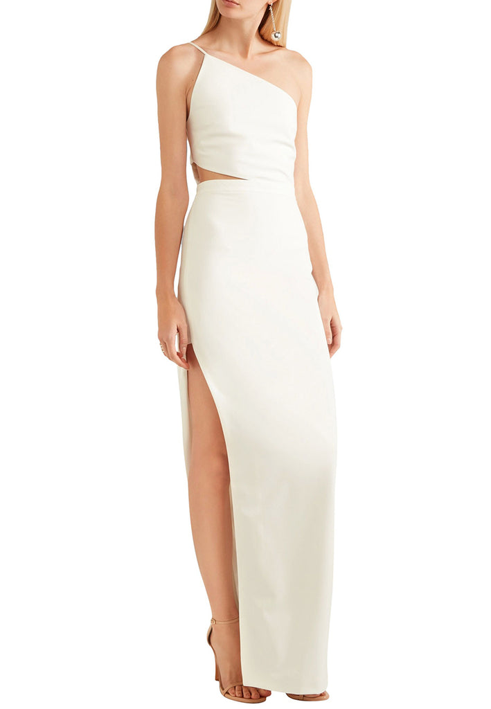 8fca53399 Michelle Mason White One Shoulder Cutout Asymmetrical Crepe Dress ...
