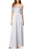 Silver Off Shoulder Maxi Dress