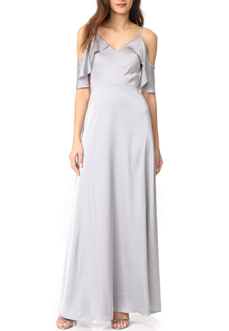 Silvery Blue Tonal Sequins Tulle Midi Dress