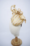 Being of Love -  Gold Stripes Sinamay Air Bostess Hat with Bow