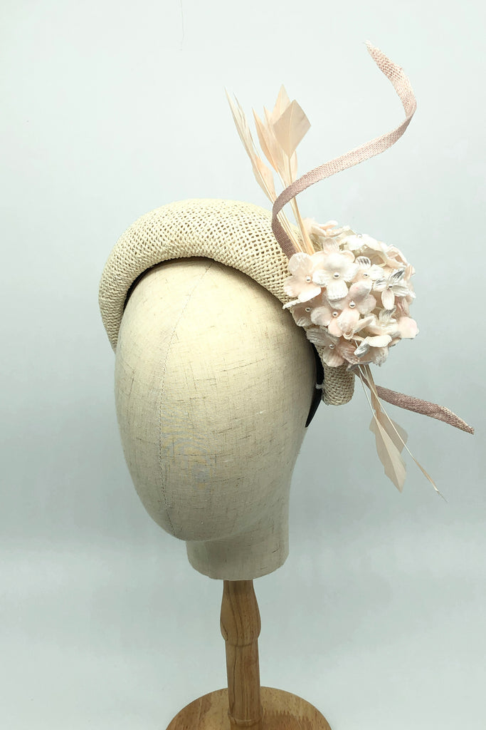 Being of Love -  White Straw Halo Headband Hat with Silk Flowers