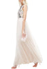 Ivory Floral Embellished Open Back Maxi Tulle Dress