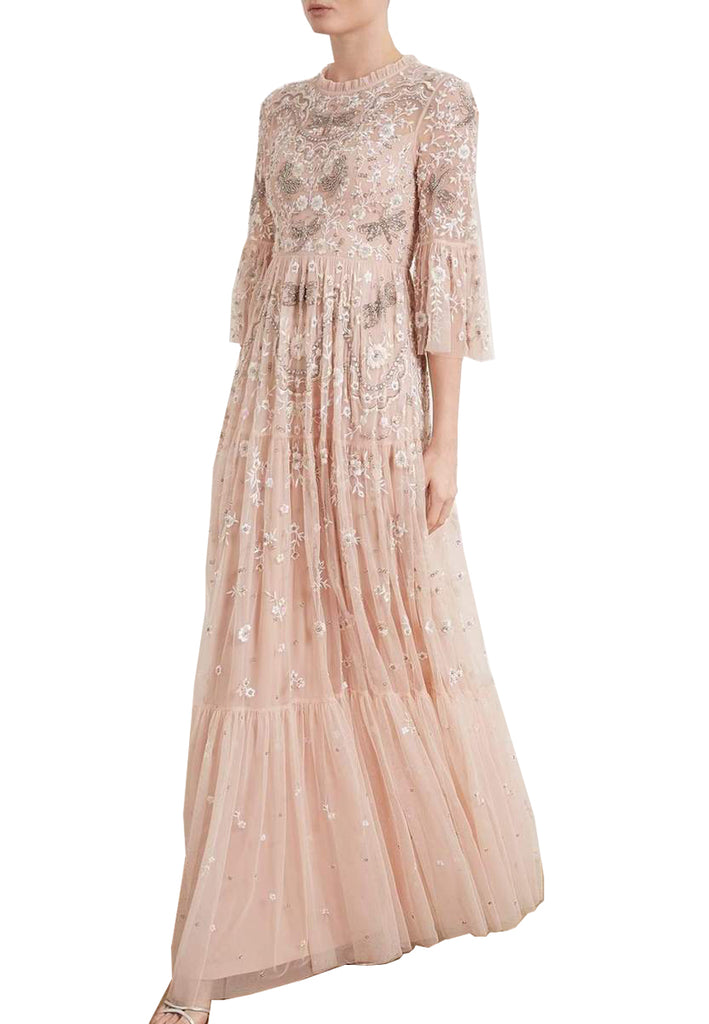 Pink Dragonfly Garden Embellished Tulle Gown