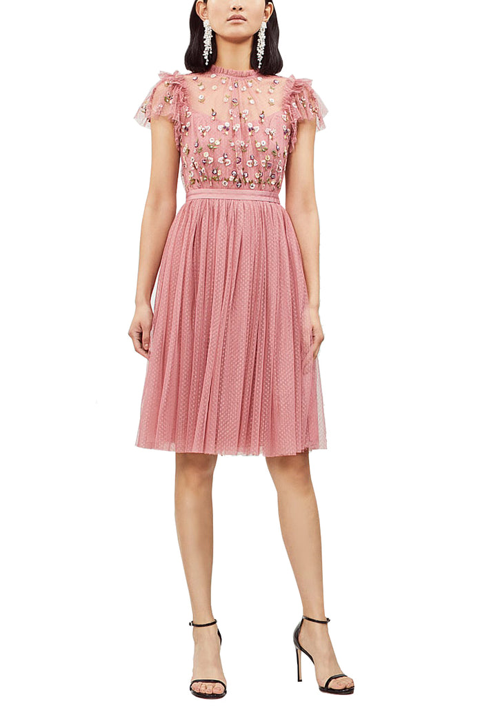 Pink Rococo Floral Embellished Tulle Midi Dress