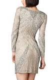 Silver Long Sleeves Beaded Shift Dress