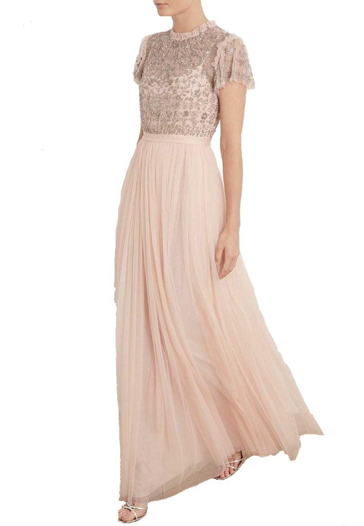 Nude Andromeda Short Sleeves Embellished Maxi Dress
