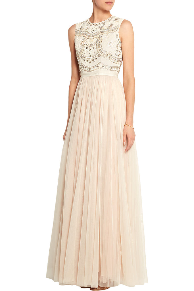 Ivory Sequins Embellished Tulle Gown