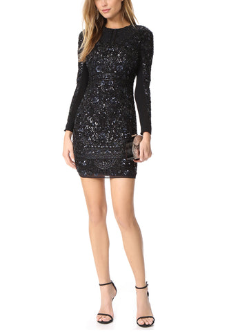 Black with Gold Chain Logo Stretch­ Crepe Dress