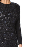 Black Midnight Lace Sequins Embellished Mini Dress