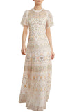 White Sweet Petal Short Sleeves Embroidered Gown