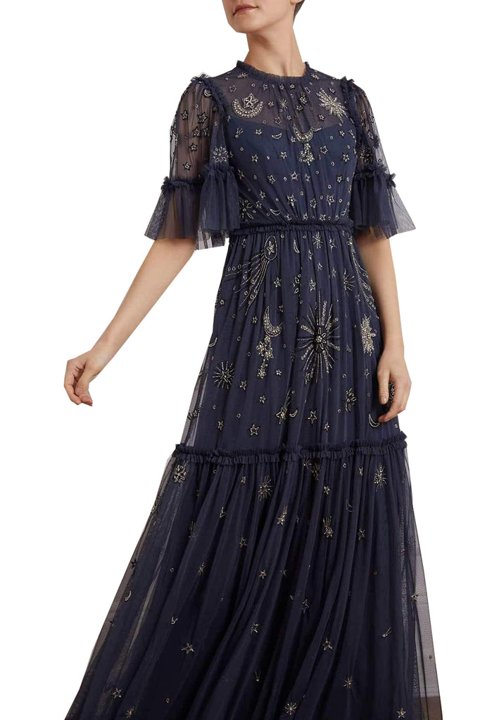 Navy Jasmine Ether Moon and Stars Embellished Maxi Dress