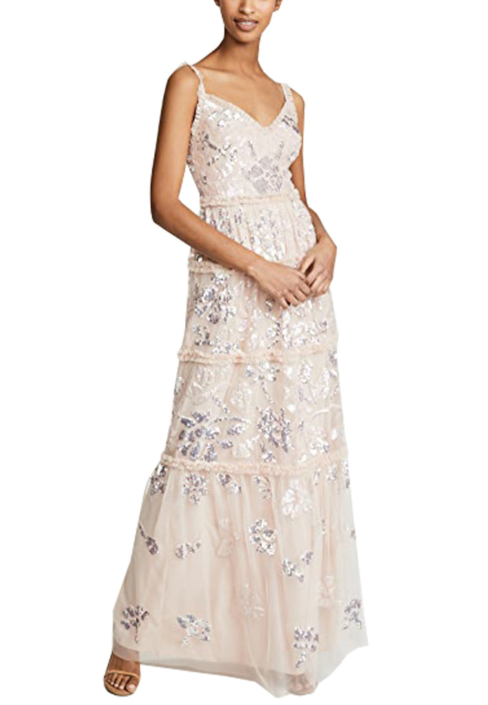 Beige Floral Gloss Sequins Gown