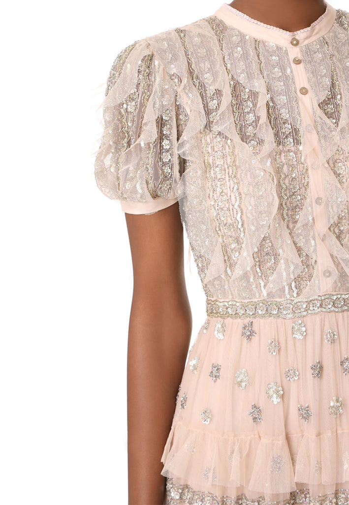 Nude Jet Frill Ruffled Embellished Short Sleeves Tulle Gown