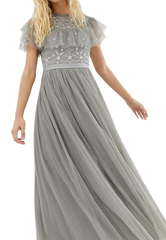 exquisite craftsmanship limited guantity price remains stable Silver Floral Embroidered Dotted Tulle Maxi Dress