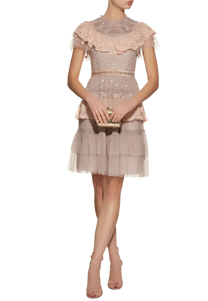 Blush Cinderella Tonal Embroidered Dress