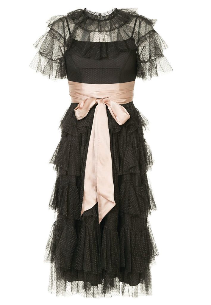 Black Scallop Tulle with Pink Ribbon Midi Dress