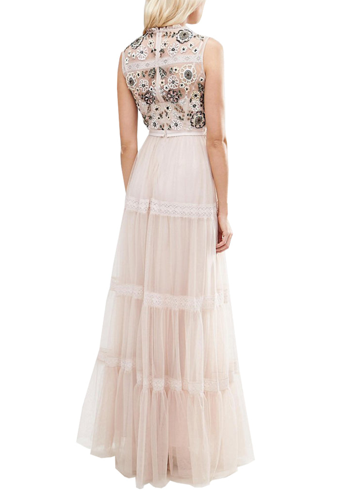 Blush Tiered Woodland Embellished Gown